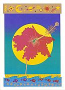 Sun Reliefs - Dream Hibiscus Silkscreen by Nancy Hamlin-Vogler