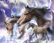 Dream Scape Prints - Dream Horses Print by Linda Finstad