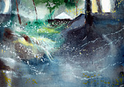 Nature Scene Paintings - Dream House 2 by Anil Nene