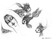 Head Drawings Prints - Dream of Goldfish Print by Angel  Tarantella