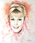 Tv Show Drawings Framed Prints - Dream of Jeannie Framed Print by Lena Day