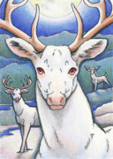 Winter Night Drawings Metal Prints - Dream of the White Stag Metal Print by Amy S Turner