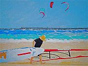 Wind Surfing Art Paintings - Dreamer Disease V Ponce Inlet  by Ralph Mantia Sr