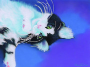 Cats Pastels Prints - Dreamer Print by Tracy L Teeter