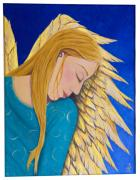 Angel Blues Framed Prints - Dreaming Angel Framed Print by Jacqueline Lovesey