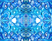 Trippy Paintings - Dreaming in Blue Mirrored by Larry Calabrese