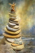 Beach Art Mixed Media Posters - Dreaming Stones Poster by Carol Cavalaris
