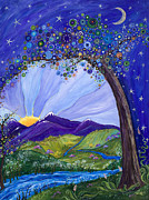 Beautiful Purples Prints - Dreaming Tree Print by Tanielle Childers