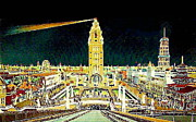 Amusement Parks Paintings - Dreamland And Coney Island At Night 1906 by Dwight Goss