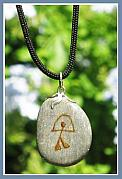 Spiritual Jewelry - DREAMS charmstone pendant with the Rainbow Warrior Indalo symbol by Melanie Bourne