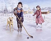Pond Hockey Painting Framed Prints - Dreams of Glory Framed Print by Richard De Wolfe