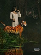 Nightgown Prints - Dreams of Tigers and Bubbles Print by Daniel Eskridge