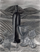 Wine Vineyard Drawings Prints - Dreams of Tuscany Print by Jennifer LaBombard