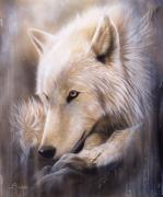 White Painting Metal Prints - Dreamscape - Wolf Metal Print by Sandi Baker