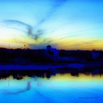 Augustine Prints - Dreamscape Blue Water Sunset  Print by Nada Frazier