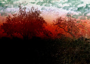 Abstract.trees Digital Art Prints - Dreamscape Sunset - Abstract Print by Ellen Lacey