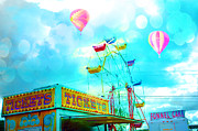 Cotton Candy Festival Art Prints - Dreamy Aqua Carnival Ferris Wheel Hot Air Balloons Print by Kathy Fornal
