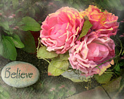 Floral Prints Prints - Dreamy Cabbage Pink Roses Inspirational Art Print by Kathy Fornal