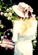 Bouquet Of Roses Posters - Dreamy Cottage Chic Girl Holding Basket Roses Poster by Kathy Fornal