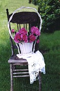 Garden Chair Framed Prints - Dreamy Cottage Chic Vintage Pink Peonies in Basket Framed Print by Kathy Fornal