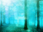 Surreal Landscape Photo Metal Prints - Dreamy Ethereal Teal Turquoise Nature Woodlands Metal Print by Kathy Fornal