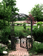 Garden Scene Metal Prints - Dreamy French Garden Arbor and Gate Metal Print by Kathy Fornal