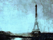 Surreal Eiffel Tower Art Photos - Dreamy Paris Eiffel Tower Sky Blue Abstract  by Kathy Fornal