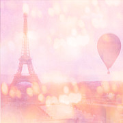 Paris Photography Prints - Dreamy Paris Eiffel Tower With Hot Air Balloon Print by Kathy Fornal