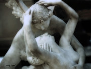 Psyche Metal Prints - Dreamy Paris Eros and Psyche Romantic Sculpture  Metal Print by Kathy Fornal