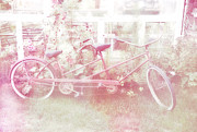 Two By Two Framed Prints - Dreamy Paris Pink Pastel Bicycle For Two Framed Print by Kathy Fornal