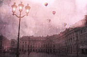 Paris Fine Art By Kathy Fornal Prints - Dreamy Paris Street Lamps With Hot Air Balloons Print by Kathy Fornal