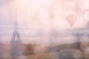 Paris Photography Prints - Dreamy Pink Paris Eiffel Tower Hot Air Balloon Print by Kathy Fornal