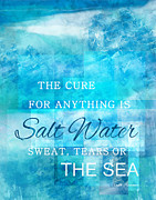 Sweat Digital Art Framed Prints - Dreamy Salt Water Quote By Isak Dinesen Framed Print by Leslie Fuqua