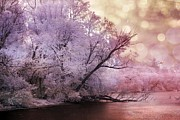 Surreal Art Photo Prints - Dreamy Surreal Fantasy Pink Nature Lake Scene Print by Kathy Fornal