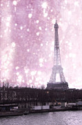 La Tour Eiffel Posters - Dreamy Surreal Paris In Pink Snow Winter Scene Poster by Kathy Fornal