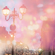 Pink Photos Prints - Dreamy Surreal Paris Night Street Lamps  Print by Kathy Fornal