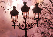 Surreal Art Photo Prints - Dreamy Surreal Pink Paris Street Lamps  Print by Kathy Fornal