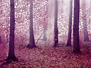 Haunting Woodlands Posters - Dreamy Surreal Sparkling Pink Woodlands Poster by Kathy Fornal