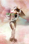 Fantasy Angel Art Posters - Dreamy Whimsical Pastel Pink Angel Art  Poster by Kathy Fornal