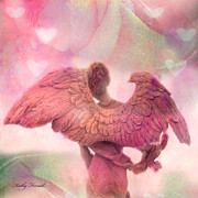 Fantasy Angel Art Posters - Dreamy Whimsical Pink Angel Wings With Hearts Poster by Kathy Fornal