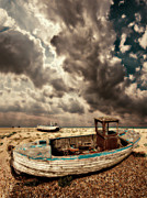 Shingle Beach Prints - Dreamy Wrecked Wooden Fishing Boats Print by Meirion Matthias