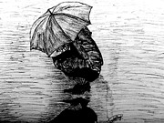 Umbrella Drawings Framed Prints - Drenched Shadow Framed Print by Yashas Raaj
