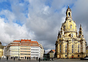Church Of Our Lady Framed Prints - Dresden Church of Our Lady and New Market Framed Print by Christine Till