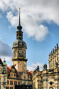 Clocks Metal Prints - Dresden Hausmannsturm - Housemann Tower Metal Print by Christine Till