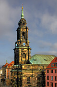 Clocks Prints - Dresden Kreuzkirche - Church of the Holy Cross Print by Christine Till
