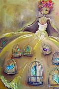 Bir Framed Prints - Dress of Birdcages Framed Print by Jenna Fournier