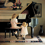 Girl Playing Piano Paintings - Dress Rehearsal by Greg Olsen