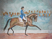Dressage Horse Originals - Dressage Dancing Horse by Olga Kaczmar