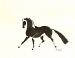 Braids Prints - Dressage Trot Print by Liz Pizzo
