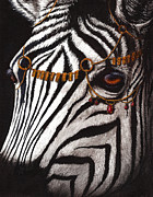 Zebra Face Prints - Dressed in Gold and Rubies Print by Danielle Trudeau